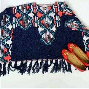 Aztec fringe poncho sweater